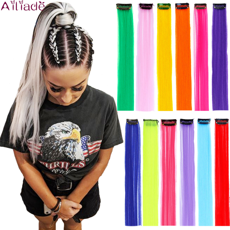 AILIADE Single Clip In One Piece Hair Extensions High temperature Synthetic Long Straight Ombre Rainbow Hair Piece For Women