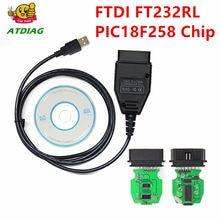 Vag k + pode comandante 1.4 com ftdi ft232rl pic18f258 chip obd2 interface de diagnóstico com cabo
