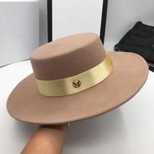 E di lana di cammello cappelli per gli uomini e le donne Basse burlone lettere cappello piatto a tesa cappello di feltro cappello di modo di euramerican Cappelli stile Fedora e borsalino