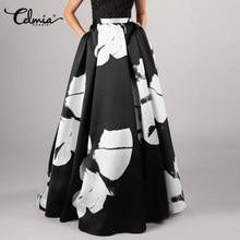 女性のハイウエストボヘミアンビーチスカート2021 celmiaファッションフラワープリントマキシスカートカジュアルルーズa buttomsプラスサイズ5XL
