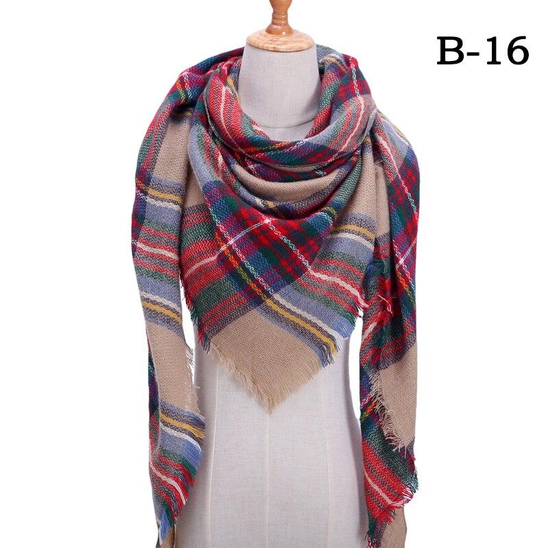 Женский зимний шарф в ретро стиле, кашемировые вязаные пашмины шали, женские мягкие треугольные шарфы, бандана, теплое одеяло, новинка - Цвет: bb16