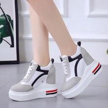 Sapatos de salto alto feminino 2020 moda respirável couro do plutônio sapatos femininos plataforma altura aumentada 11 cm sola grossa zapatos mujer