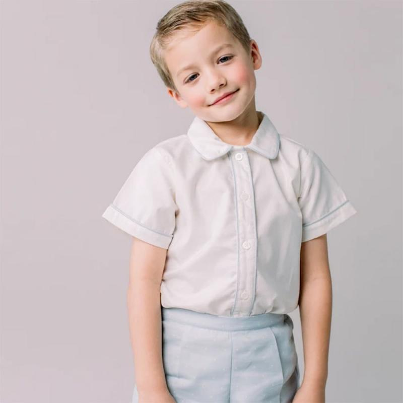 Toddler Spanish Clothing Sets Baby Boy Boutique Clothes Infant Smocked Suits Brother's Outfit Newborn White Shirt + Shorts Suit
