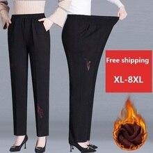 Casual Trousers Straight-Pants Velvet Warm Female Winter Spring/autumn Plus-Size Women