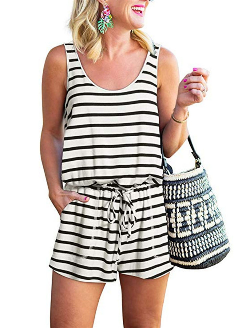 Women Sleeveless Striped Playsuits Casual Lady Summer Tunic Short Jumpsuits Drawstring Pockets Playsuit   Romper   Trousers 2019