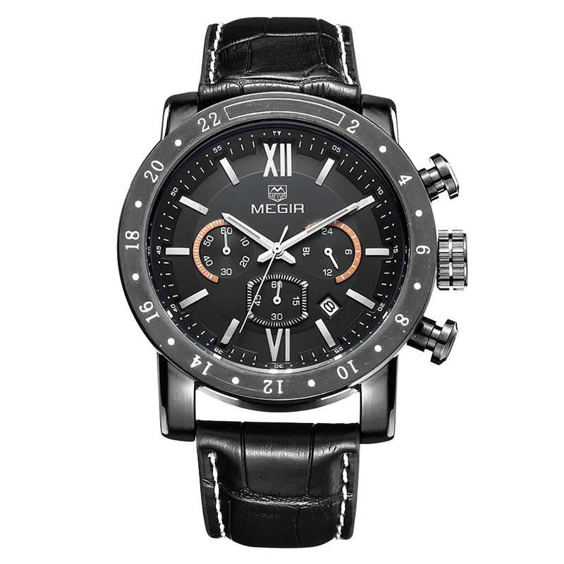 MEGIR Fashion watch for Mens Multi-Function Watch Waterproof Luminous Quartz 3008