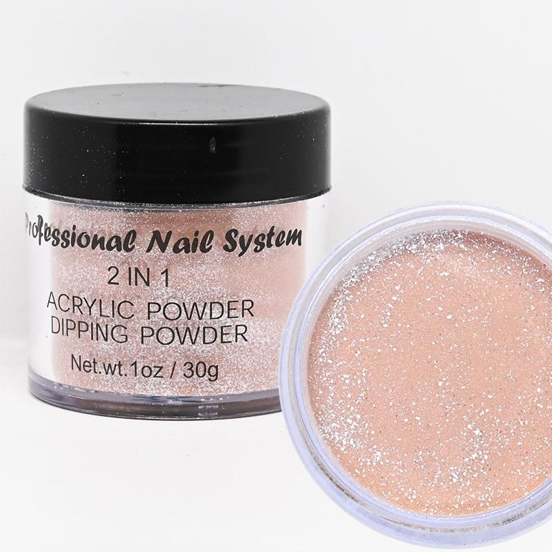 2 IN 1 Acrylic&Dipping Powder Nail Dust Pigment Powder French Dip Nail Glitter Powder Pigment For Manicure Gel Nail Polish FAW53