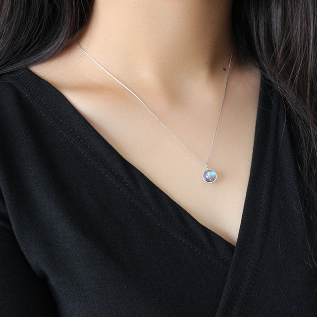 Regalo para mujer Collares y colgantes con cuentas redondas y Pergamino de piedra lunar Natural
