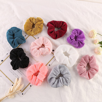 Simple Solid Color Scrunchies Pleated Elastic Hair Rope Girls Ponytail Holder Women Sweet Hair Ties Rubber Band Hair Accessories image