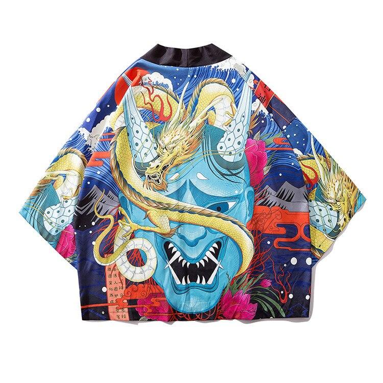Summer New Large Size Yukata Casual Japanese Style Kimono For Male Harajuku Women Kimono Shirt Print Hip Hop Style Robe Gown