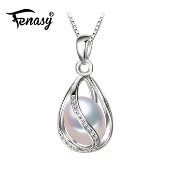 FENASY Pearl Jewelry natural Pearl Pendant cage Necklace Party Fashion style Freshwater Pearl Silver Necklace Pendant Gift box