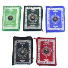 Draagbare Waterdichte Moslim Gebed Mat Tapijt Met Kompas Vintage Patroon Islamitische Eid Decoratie Gift Zakformaat Tas Rits Stijl