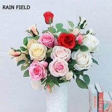Artificial Flowers Decorative Flowers Eternal Rose for Decor for The Wedding Artificial Flower Bouquet Silk Rain Field цена и фото