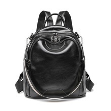 Vintage anti theft women backpack wax leather PU durable travel casual black brown shoulders bag durable casual canvas laptop backpack blue color shoulders bag 9023k