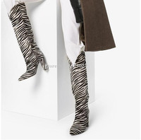 New Zebra Horse Hair Chunky Heel Long Boots Women Sexy Pointed Toe Knee High Boots Lady Large Size Banquet Shoes Dropship