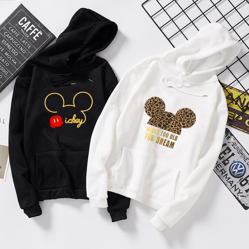 Women Sweatshirt Cotton Hoodies Autumn Winter Minnie Mickey Cartoon Hoodie Print Pullover Long Sleeve Plus Size 5XL White