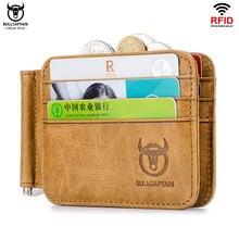 BULLCAPTAIN Leder tir-flod ID/Kreditkarte Halter Front Pocket Wallet mit RFID Sperrung Bifold Business leder monat clips