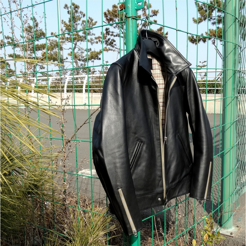 Water Stained Horse Japanese British-Style Leather Jacket 551 Czochralski Version Really Heavy Leather Coat