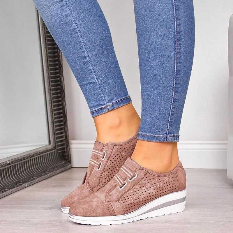 SFIT akın yeni Lady Casual kadın Sneakers eğlence platform ayakkabılar yüksek topuk nefes yüksekliği artan ayakkabı kadınlar Flats