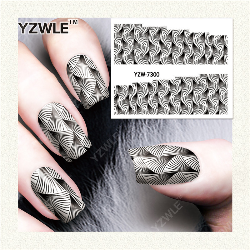 YZW7291 Environmentally Friendly Nail Sticker Simple French White Flower Watermark Nail Decals Black And White Lace