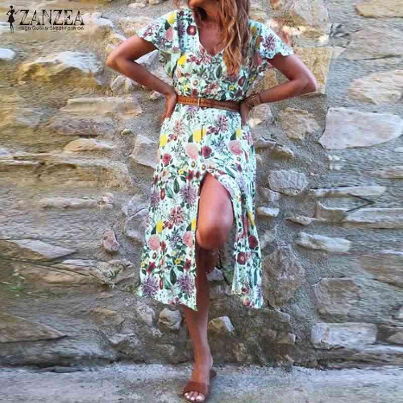 ZANZEA 2019 Vrouwen Jurk Beach Bloemen Behomian Korte Mouwen Party Lange Jurk Kaftan Mid-kalf Vestidos Plus Size zonnejurk