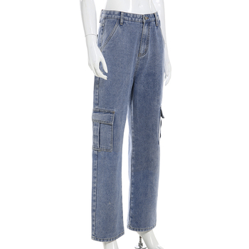 Weekeep Pockets Patchwork High Waist Jeans Women Streetwear Straight Jean Femme Blue 100% Cotton Cargo Pants 10