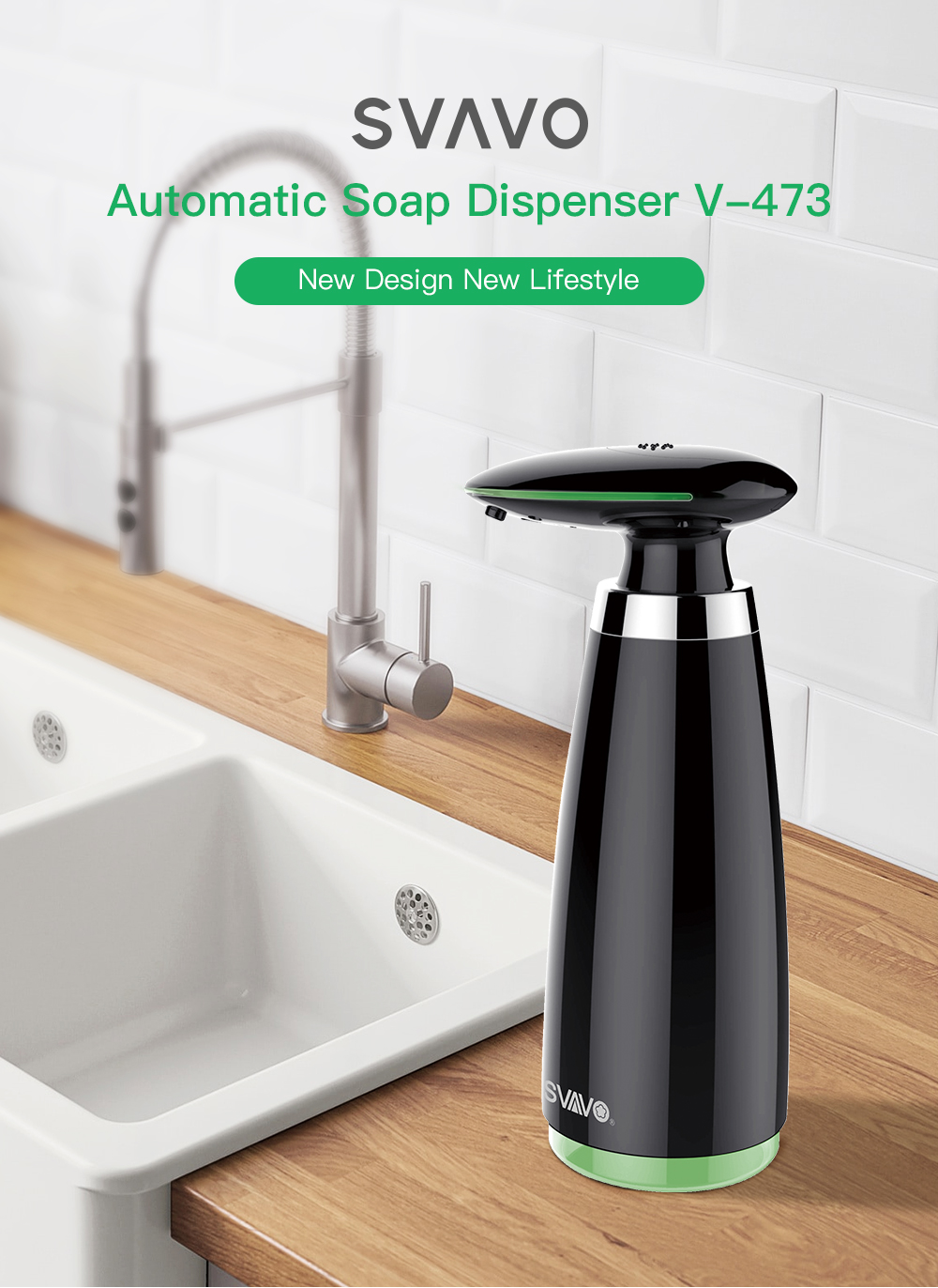 SVAVO 350ml Automatic Soap Dispenser Infrared Touchless Motion Bathroom Dispenser Smart Sensor Liquid Soap Dispenser for Kitchen