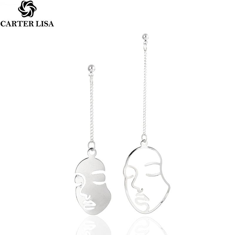 CARTER LISA Trendy Abstract Art Drop Earrings Gold Color Face Profile Metal Dangle Earrings Girls Fashion Statement Kolczyki