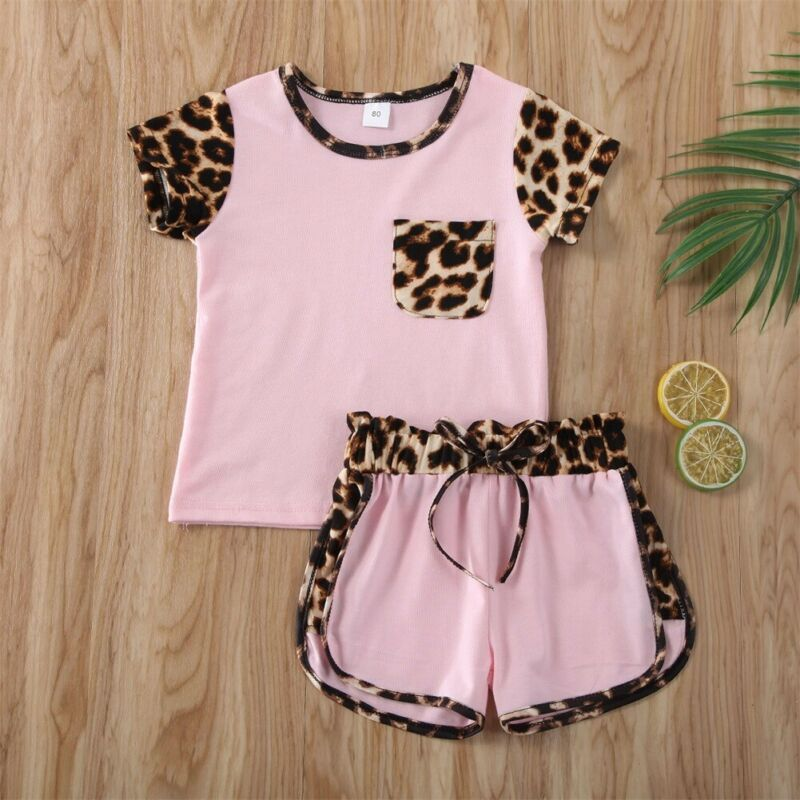 Summer Kids Baby Girl Sleeveless Tank Top T Shirt+Leopard Shorts Clothes Outfit
