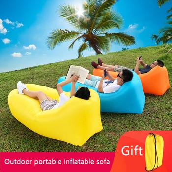 Nadmuchiwany dmuchany fotel Sofa nadmuchiwany leżak Lazy Bag ultralekkie doły śpiwór materac dmuchany hamak nadmuchiwany fotel na plażę Camping Travel tanie i dobre opinie Rooxin CN (pochodzenie) Inflatable Sofa 100 polyester 200*70cm