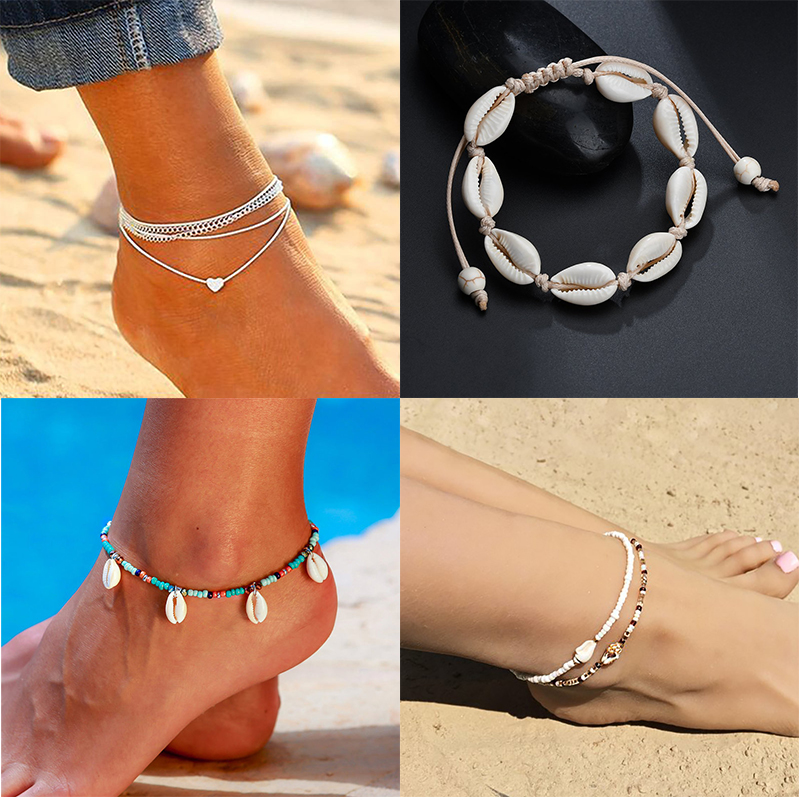Браслеты на ногу в богемном стиле для женщин, Украшенные бусинами, цепочка ручной работы из натуральных ракушек, оптовая продажа