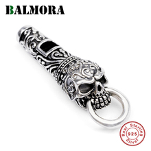 BALMORA 925 Sterling Silver Vintage Punk Whistle Skull Charm Pendants for Necklace for Men Women Couple DIY Cool Fashion Jewelry