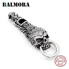 BALMORA 925 srebro Vintage Punk Whistle czaszka Charm wisiorki dla naszyjnik dla kobiet mężczyzn para DIY fajne modne biżuteria