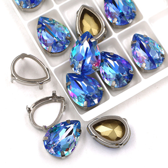3 pc Ultra AB Sunflower Glass crystal drop 13x18mm With claws Pear Rhinestones Point back paint Teardrop