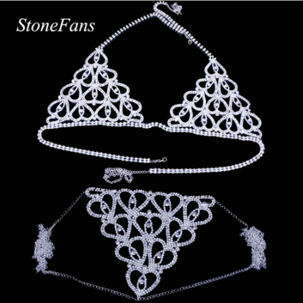 StoneFans Hot Erotic Lingerie Rhinestone Heart Body Chain Bikini Set Thong Bralette Top Bra Crystal Thong Panties Body Jewelry