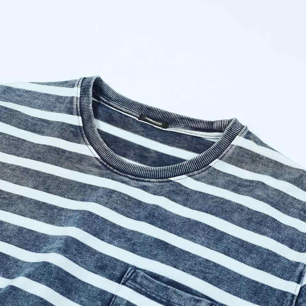 SIMWOOD Indigo Vintage Camiseta Hombre 2019 verano otoño nuevo azul rayado Breton-Top cuello redondo moda 100% algodón camiseta 190425