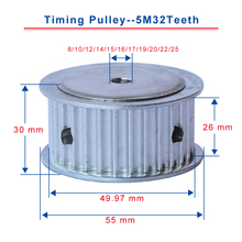 5M32Teeth timing pulley bore 8/10/12/14/15/16/17/19/20/22/25mm pulley teeth pitch 5mm slot width 26mm for width 25mm timing belt 60 40 30 20 teeth htd3m pulley wheel and closed belt 264 276 294 318 for 25mm width in a pack