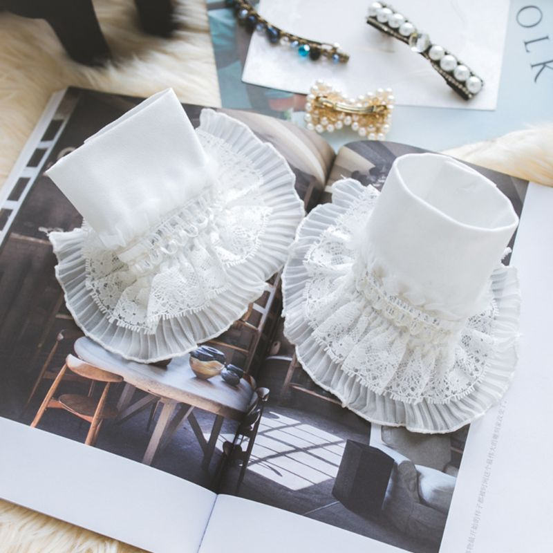 Women Tiered Ruffles Lace Horn Cuffs Wrinkled Layered Princess Retro Fake Sleeve