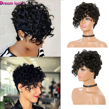 Short Kinky Curly Wig Afro American Wigs for Black Women Synthetic Heat Resistant Wigs with Bangs europe style heat resistant synthetic fashion black short kinky curly afro wig for women