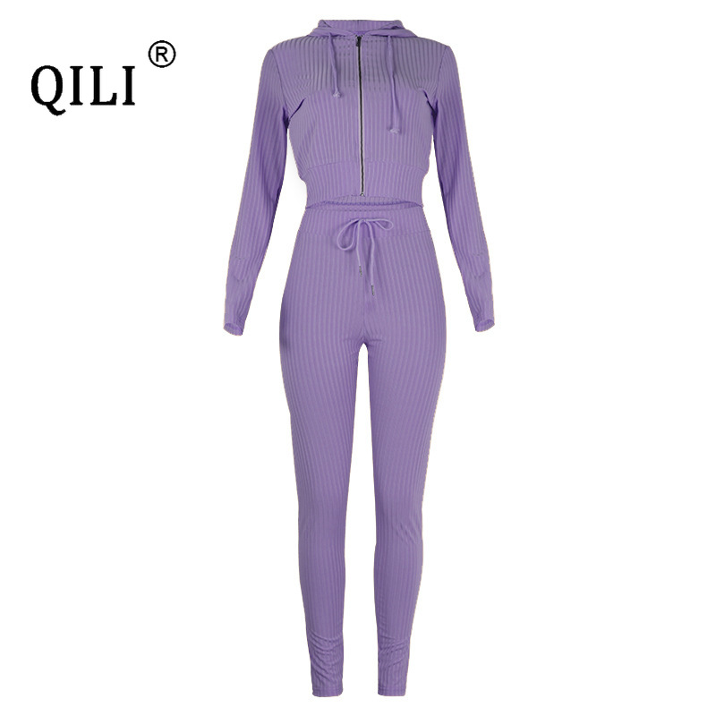 QILI New Women's Hooded Long Sleeve Slim Sports Casual Suit Zipper Two Piece Set Top and Pants Outfits Autumn Winter Plus Size