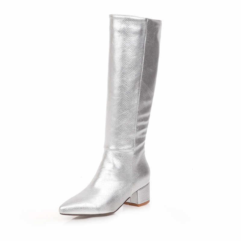 FEDONAS Euro tarzı artı boyutu kadın yüksek topuklu moda parti gece kulübü ayakkabı kadın kış sıcak kadınlar diz yüksek batı çizmeler