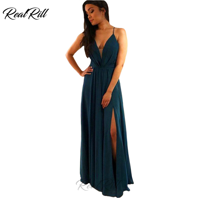 Real Rill Spaghetti Straps V-Neck   Prom     Dresses   2019 Chifon Sexy Side Split Lace Up Back Floor Length Evening Gown Long   Dress