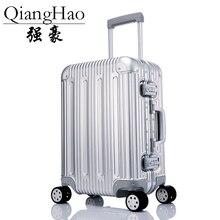 100% pure liga de alumínio puxar haste mala 20/25/29 polegada metal bagagem moda novo tipo de mala bagagem puxar haste caixa