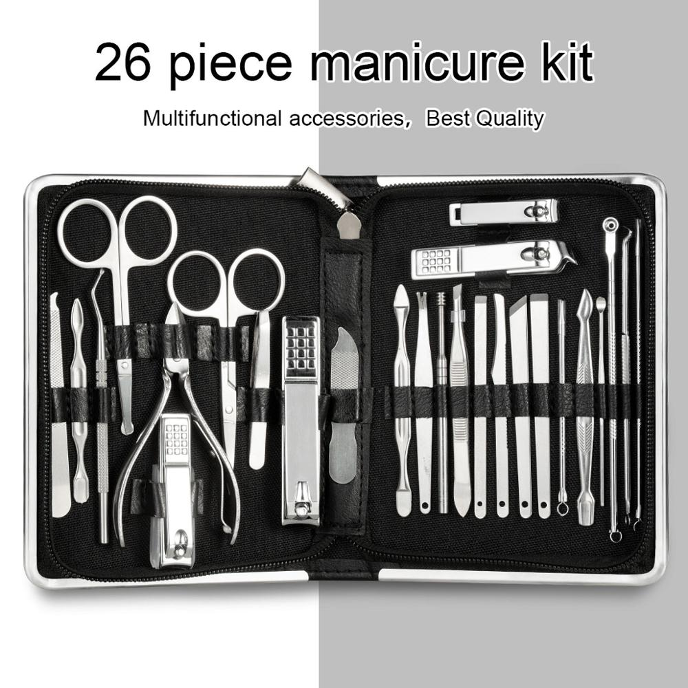 11-26 Pcs Professional Nail Clippers Manicure Set High Quality Stainless Steel Nail Cutter Scissor Cuticle Nipper Nail Tools Set