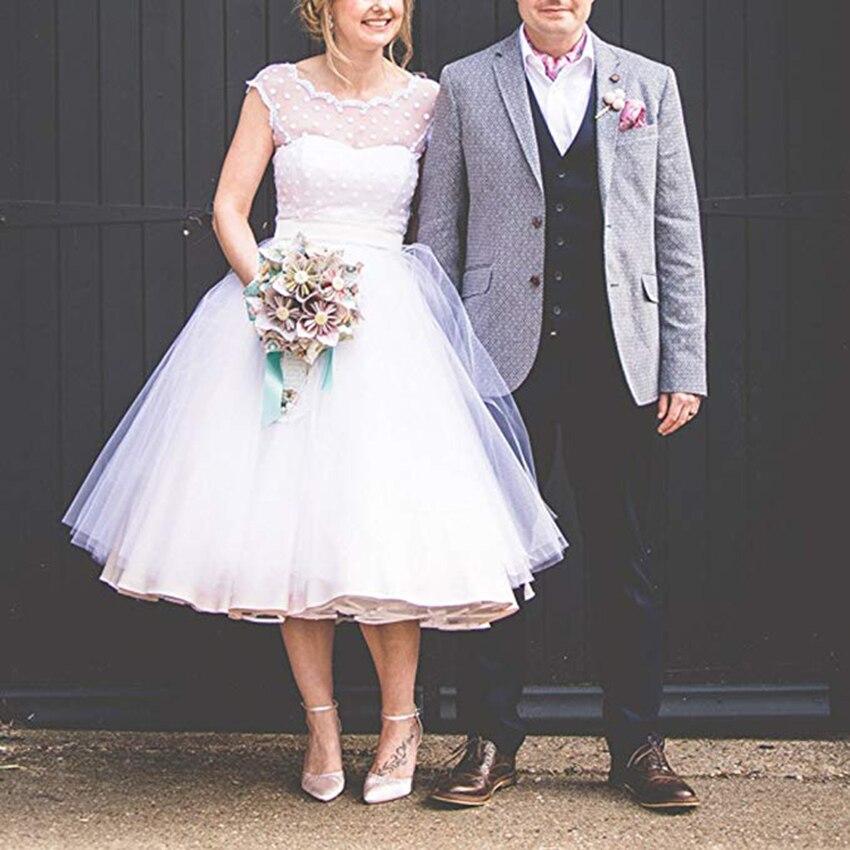 2019 Vintage Short Wedding Dress Tulle V Back Bride Dresses Tea Length Plus Size Wedding Gowns With Bow