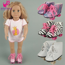 7.5 cm doll boots for 43 cm baby doll shoes suitable for 18 inch girl doll Skates winter boots(China)