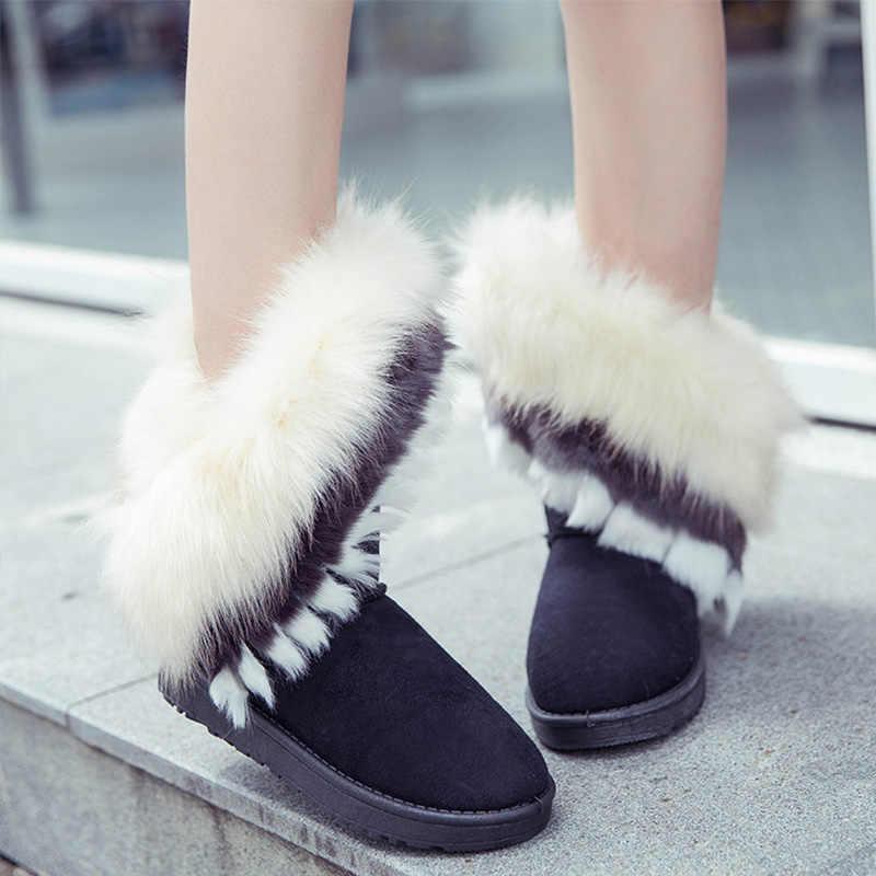 Kış kadın kar botları Faux kürk süet yarım çizmeler dikiş daireler sıcak peluş kaymaz kadın platformu konfor ayakkabı artı boyutu