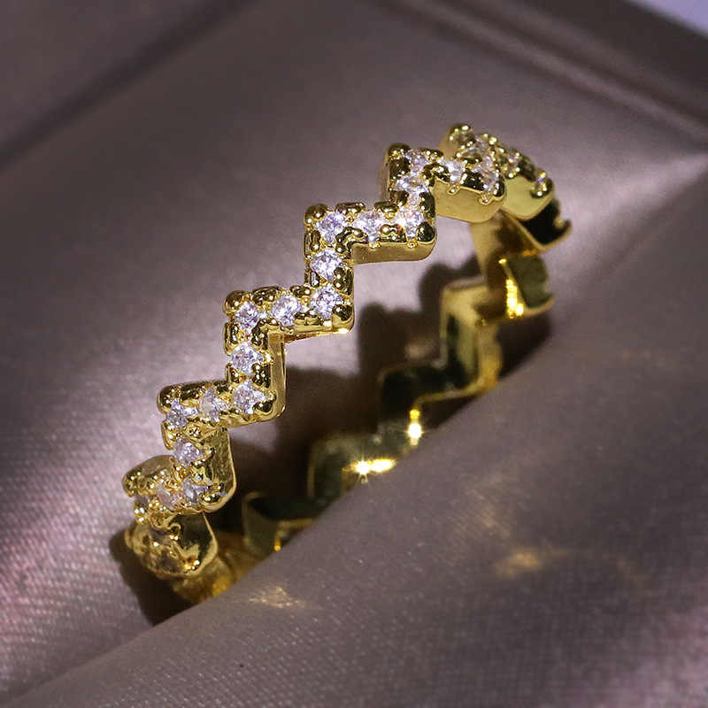 HOT 925 เงินสเตอร์ลิง 3 สีสันเส้นหยักแหวนโมเสค CZ Zircon แหวนคริสตัลขายส่งเครื่องประดับสำหรับผู้หญิงเครื่องประดับ Bijoux