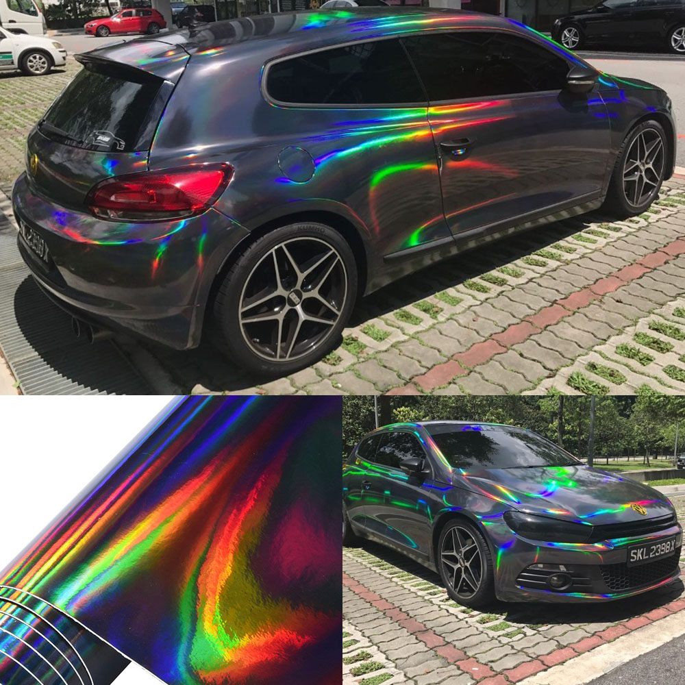 Holographic Laser Chrome Black Car Stickers Car Interior Body Wrap Vinyl Film Sheet Black with Rainbow Decals