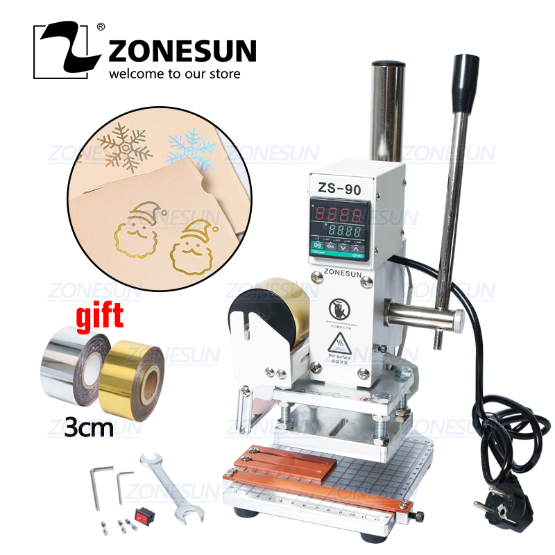 ZONESUN ZS-90 Hot Foil Stamping Machine Manual Bronzing embosser PVC Card leather paper wood embossing stamping branding iron